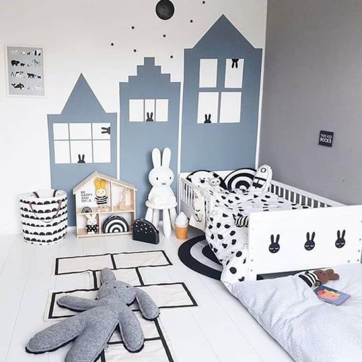 chambre enfant : peinture géométrique