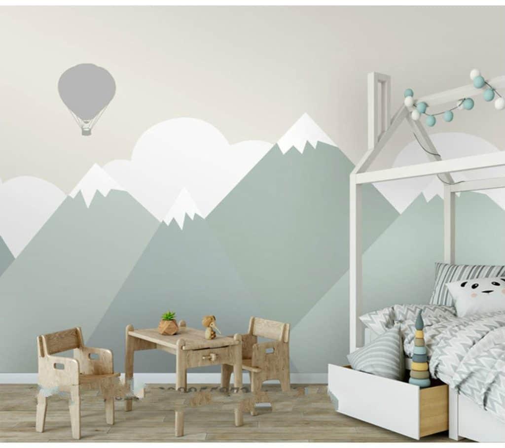 papier peint geometrique chambre enfant garcon