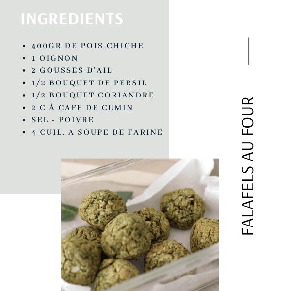 Liste des ingrédients pour falafels au four